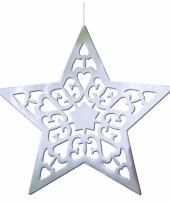 Kerststerren hangdecoratie zilver 50 cm