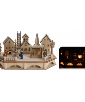 Kerstversiering dorp van hout