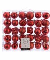 Kerstversiering kerstballen set rood 60 delig kunststof
