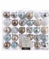 Kerstversiering kerstballen set zilver champagne blauw bruin 60x