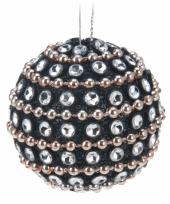 Kerstversiering zwarte kerstballen 3 5 cm