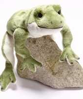 Kikker knuffeltje groen wit 30 cm