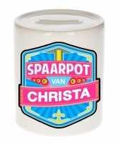 Kinder cadeau spaarpot voor een christa