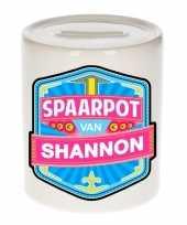 Kinder cadeau spaarpot voor een shannon