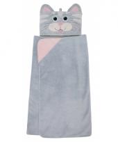 Kinder fleece deken grijze poes