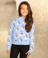Kinder kerstmis trui lichtblauw
