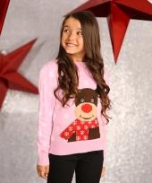 Kinder kerstmis trui lichtroze