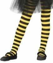 Kinder panty geel zwart gestreept