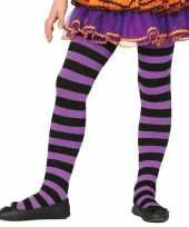 Kinder panty paars zwart gestreept