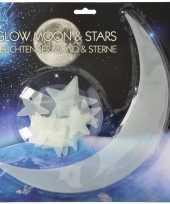 Kinderkamer glow in the dark maan en sterren 13 stuks