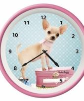 Kinderkamer klok chihuahua hond 25 cm