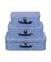 Kinderkoffertje blauw gestreept 25 cm