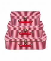 Kinderkoffertje rood gestreept 35 cm