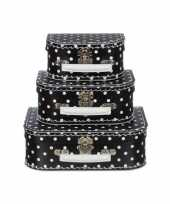 Kinderkoffertje zwart met witte polkadots 25 cm
