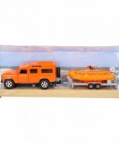 Kinderspeelgoed oranje land rover met reddingsboot