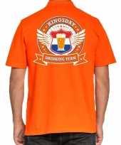 Kingsday drinking team poloshirt oranje voor heren