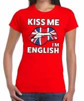 Kiss me i am english t-shirt rood dames