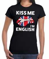 Kiss me i am english t-shirt zwart dames