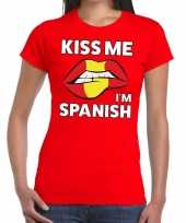 Kiss me i am spanish t-shirt rood dames
