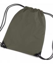 Kleine groene gymtasjes met koord