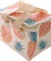 Kleine koeltas ananas print voor 6 sixpack blikjes