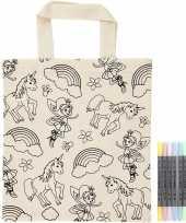 Kleurset tasje eenhoorns met textielstiften