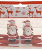 Knijper met kerstman met ster 4 stuks