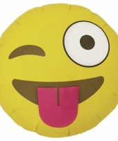 Knipoogje emoticon folie ballon 46 cm