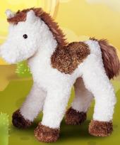 Knuffel paard bruin wit 23 cm