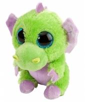 Knuffel pluche draakje groen paars 13 cm