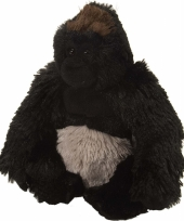 Knuffel pluche gorilla zwart 20 cm