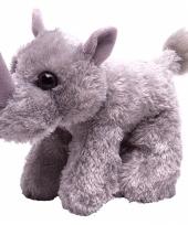 Knuffel pluche neushoorn grijs 18 cm