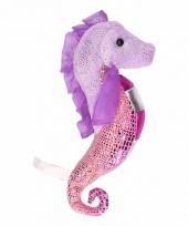 Knuffel zeepaardje glimmend paars roze 25 cm