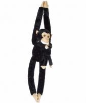 Knuffelbeesten chimpansee met baby hangend 84 cm