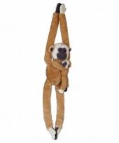 Knuffelbeesten gibbon met baby hangend 84 cm