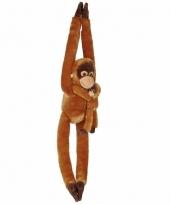 Knuffelbeesten orang oetan met baby hangend 84 cm