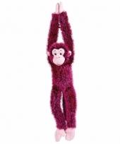 Knuffelbeesten roze aap hangend 84 cm