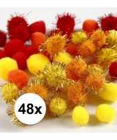 Knutsel pompons 48 stuks 15 20 mm kleuren
