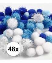 Knutsel pompons 48 stuks 15 20 mm wit blauw