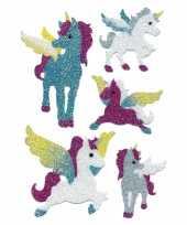 Knutsel stickers glitter eenhoorntjes 2 stuks