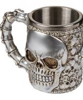 Koffie beker met doodskoppen 16 x 14 cm