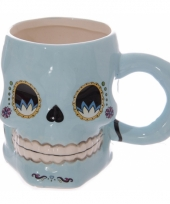 Koffie mokken schedel blauw