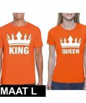 Koningsdag koppel king queen t-shirt oranje maat l
