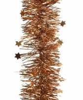 Koper bruine kerstversiering folie slinger met ster 270 cm