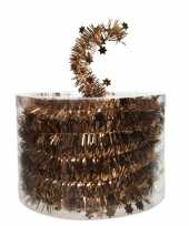 Koper bruine kerstversiering folie slinger met ster 700 cm