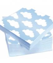 Kraamfeest servetten blauw met witte wolken
