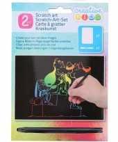 Kras tekening krasfolie regenboog kleuren honden