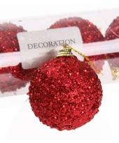 Kunststof kerstballen rood 6 stuks
