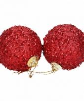 Kunststof kerstballen rood 8 stuks