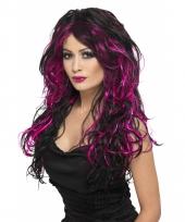 Lange damespruik zwart met roze